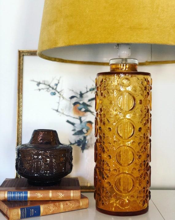 Midcentury modern lamp by Gustav Leek, Orrefors amber glass