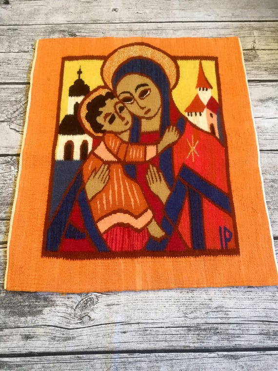 Vibrant/woven/wallhanging/madonna/child/1970s/loomed/tapestry