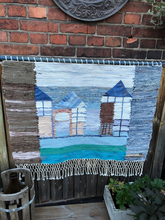 Original patchwork Scandinavian rag rug woven textil art wall hanging tapestry nordic design /Swedish weaving Nordic fiber art