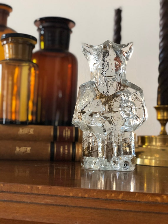 XL Swedish viking glass sculpture paperweight crystal pukeberg 1970s Uno Westerberg