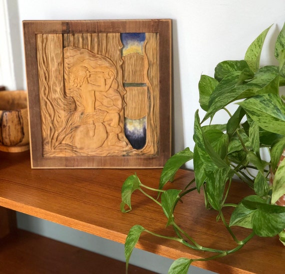 Scandinavian handcarved wooden relief art wall hanging, signed Börje Lindahl 1945 inspired by John Bauer's lille vill- vallare