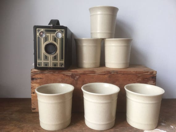 Set of 6/höganäs/coffee cups/cream/minimalistic/wabisabi/ earthy /stoneware/
