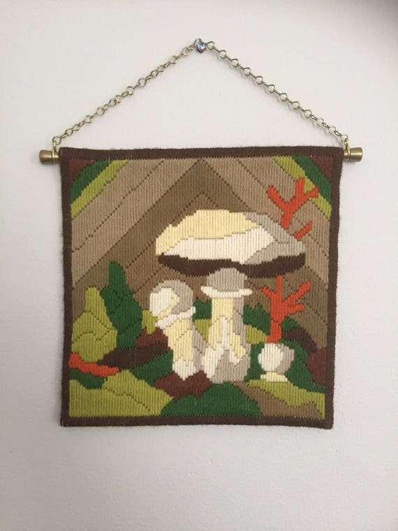 Vintage long stitch embroidered mushroom motiff wallhanging with brass hardware hanging chain/nanna chic/granny chic
