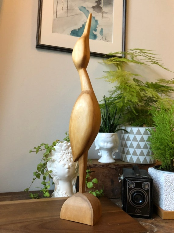 XL Vintage Scandinavian hand sculpted wooden crane