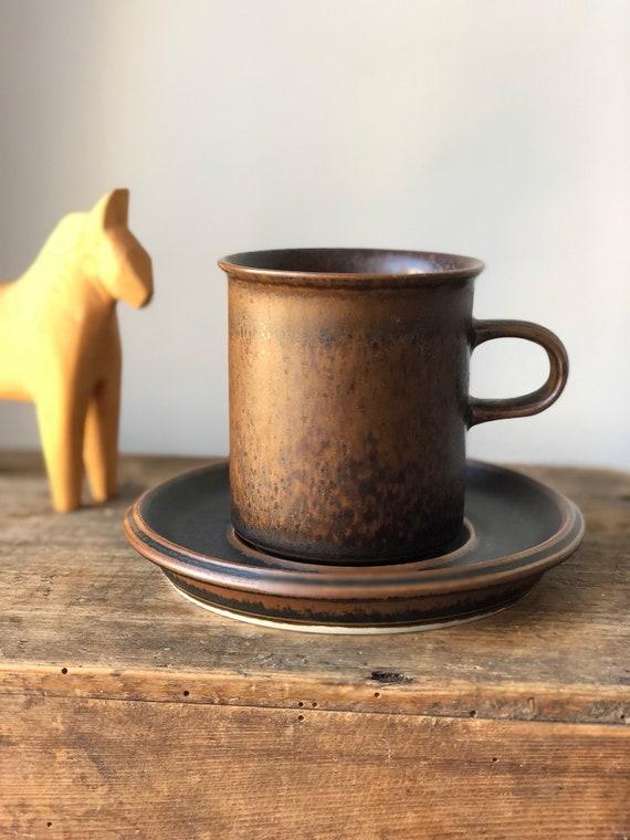 Vintage arabia/ruska/ulla procope/coffee cups and saucers/finnish design/minimalistic/midmod/Scandinavian/earth tones
