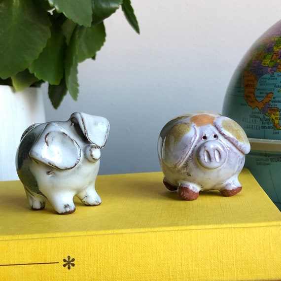 Scandinavian studio pottery pig ceramic figures modcentury modern miniature pig figurines Swedish Scandinavian modern