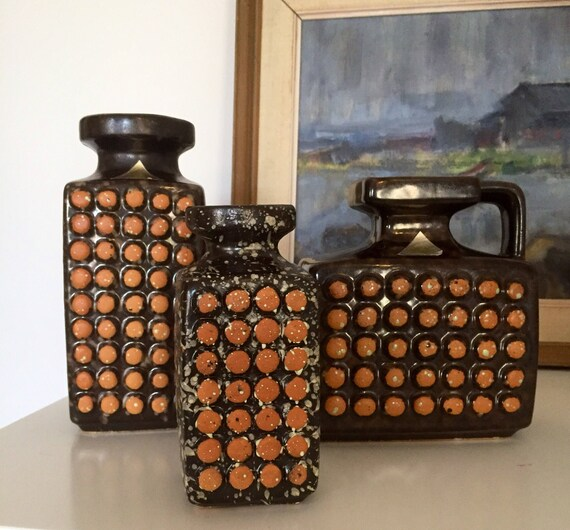 Trio VEB/ haldensben/ trio/set of 3/vases /1960s/midmod/boho/retro /fat lava/East German/GDR/midcentury /jungalow/vintage/modernist