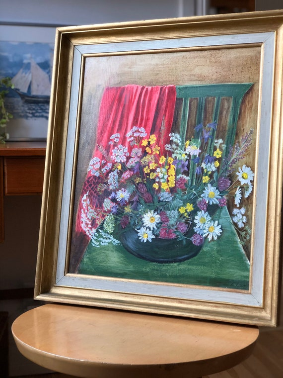 Swedish oil painting on board signed EL-M still life Flowers Scandinavian country farmhouse