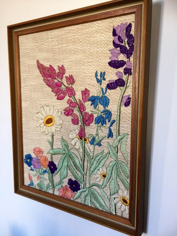 Vintage/floral/ crewel/ framed/ wall hanging/flowers/spring flowers/frame/glass /flowery