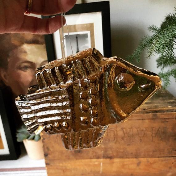 Pukeberg moderist amber fish sun catcher/ suncatcher golden brown amber  suncatcher wall hanging 1960/boho