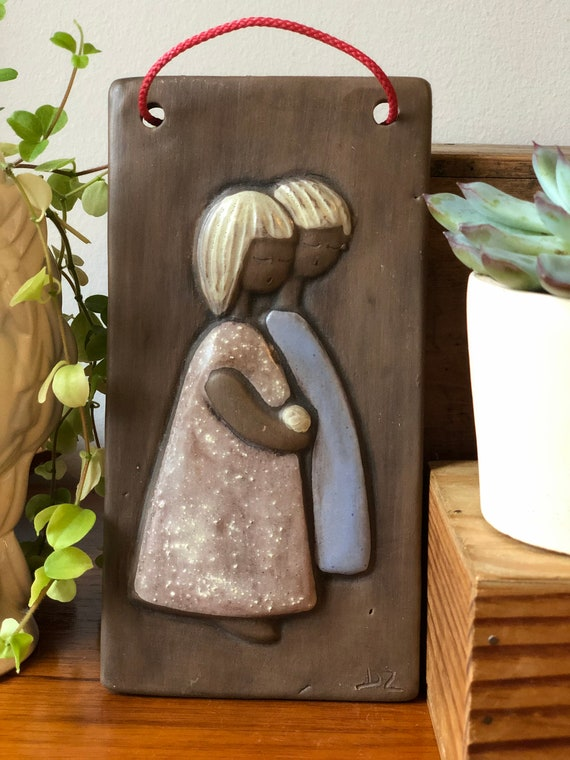 Swedish girls ceramic wall tile wall plaque signed DZ by Christina Sweden keramik  Sweden midcentury modern Scandinavian
