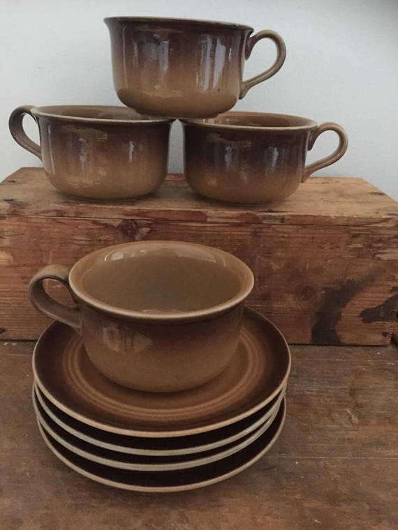 Set of 4 höganäs tea mugs coffee cups earth tones saucers retro earthy  stoneware