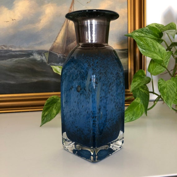 Scandinavian cased glass vase in Cobalt Blue hand blown mid-century vintage