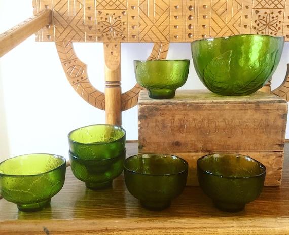 Rare/kosta boda/ green crystal/dessert/side/bowls/party/leaf/series/1970s/anna warff