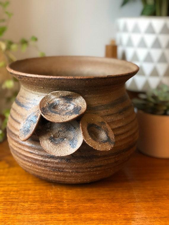 Scandinavian studio pottery planter boho flower pot signed mushroom detail