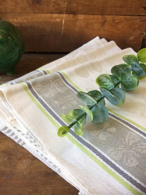 4 Vintage/pure linen/Almedahls/woven/Scandinavian/hand towel/kitchen towel/set of 4 /butterfly pattern/greige/ green/ gray