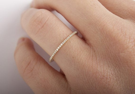14K Weddings Bands Thin Band 14K Solid Gold Eternity Band Set With Micro Pave Moissanite Stacking Ring