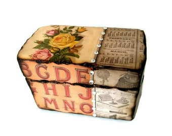 Steampunk wooden box with burn detail and crystal embellishments