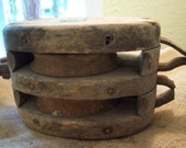 Vintage wooden pulley Double pulley Boston Lockport Block Co Primitive Rustic Industrial Farm house decor Barn pulley Wood and iron