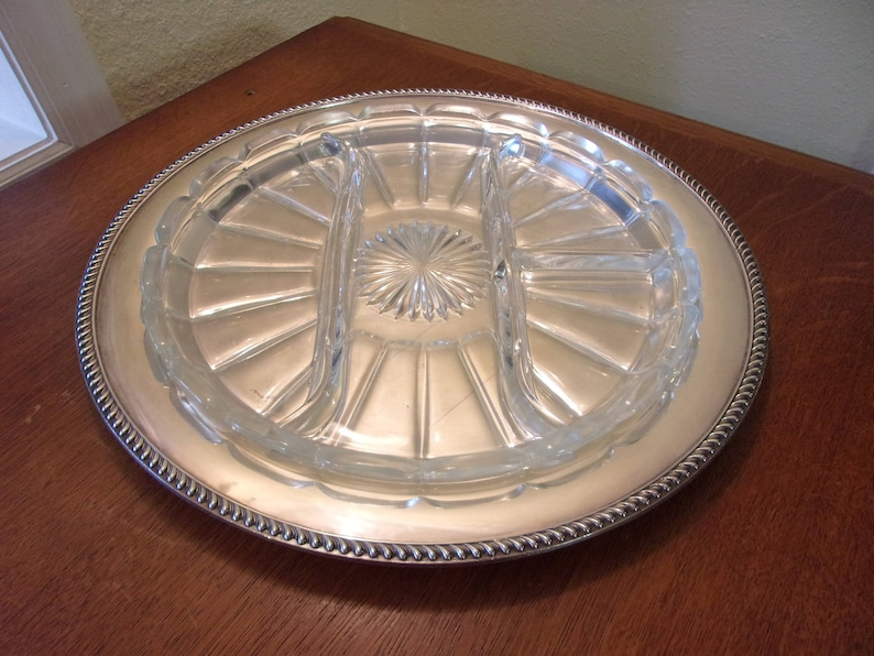 Poole Silver Company Taunton Ma Relish Tray Silver Plate Tray Four Section Pressed Glass Insert Dining And Serving Formal Entertainment