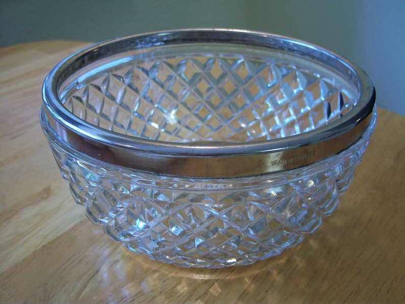 Vintage cut glass bowlSilver plated rimMade in EnglandServing bowlCenter piece bowl for flowers or floating  candlesKitchen and dining