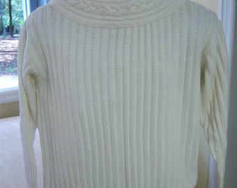 Vintage J H Collectibles sweater/Ivory color sweater with cable stitch collar/Size Large/Cotton and rayon sweater/Vintage clothing