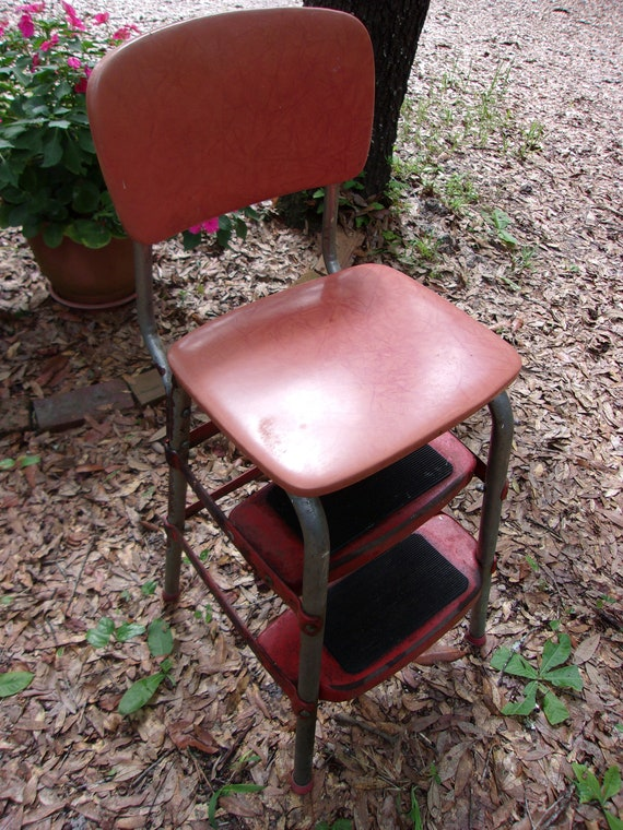 Amazing Vintage Red And Chrome Step Stool Seat Three Steps Winston Salem Nc Harveen Metal Products 1950S Step Stool Original Retro Farm House Uwap Interior Chair Design Uwaporg