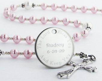 Girls First Communion Rosary, Communion Gift, Personalized Rosary, Communion Beads, Catholic Rosary Beads, Pink & White Rosary, CheerPWp