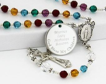 Mother's rosary, Personalized rosary, Rosary beads, Birthday rosary, Family rosary, Birthstone rosary, Catholic rosary, Rosary, QueenBCC4c