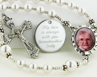 Memorial Rosary, Personalized Rosary, Photo Rosary, Memory Rosary, Memorial Gift, Rosary, Rosary Beads, Loving Memory, PMemoryWWp