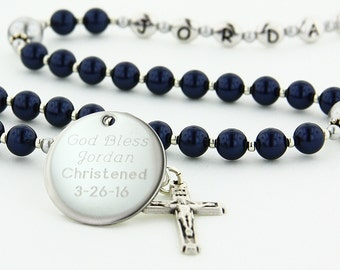 Baptism Boy Rosary, Personalized Rosary, Baptism Gift, Christening Gift, Rosary, Christening Rosary, Dark Blue & Grey Rosary, SweetDBGp