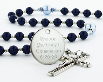 First Communion Rosary, Boy Communion Gift, Communion Bead, Personalized Rosary Bead, Name Rosary, Dark Blue & Light Blue Rosary, CheerDBLBp