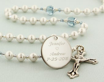 Wedding Rosary, Something Blue For Bride, Catholic Wedding Gift, Pearl Rosary, Personalized Rosary, Rosary, Bridal Gift, DarlingWedWabC3c