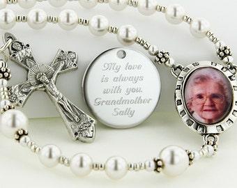 Wedding Rosary, Bride Rosary, Bridal Gift, Pearl Rosary, Personalized Rosary, Catholic Jewelry, Locket Rosary, Memorial Rosary, PMemoryWWp