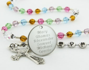 Mother's Rosary, Catholic Gift, Personalized Rosary, Catholic Rosary, Birthstone Rosary Beads, Custom Engraved Rosary, TMOMoQueenBCC4c