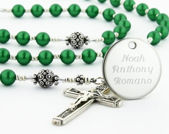 Confirmation Rosary, Confirmation Gift, Catholic Confirmation, Boy Rosary, Personalized Rosary, Rosary Beads, Green Rosary, PeaceGRSc
