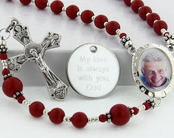 Memorial Rosary, Personalized Rosary, Memory Rosary, Photo Rosary, Picture Rosary, Rosary Beads, Rosary, Memorial Gift, PMemoryRedRedp