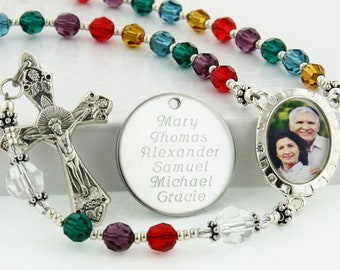 Mother's Rosary, Family Rosary, Personalized Rosary, Photo Rosary, Memorial Rosary, Grandma Rosary Beads, Birthstone Rosary, PMemoryBCC4c