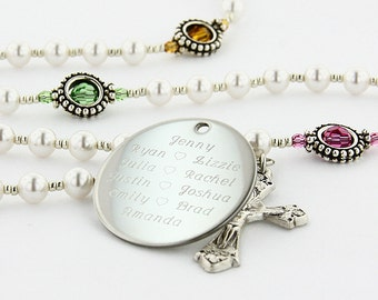 Mother's Rosary, Personalized Rosary, Rosary Beads, Birthday Rosary, Catholic Rosary, Rosary, Mothers Jewelry, Religious Gift, SuperMom1
