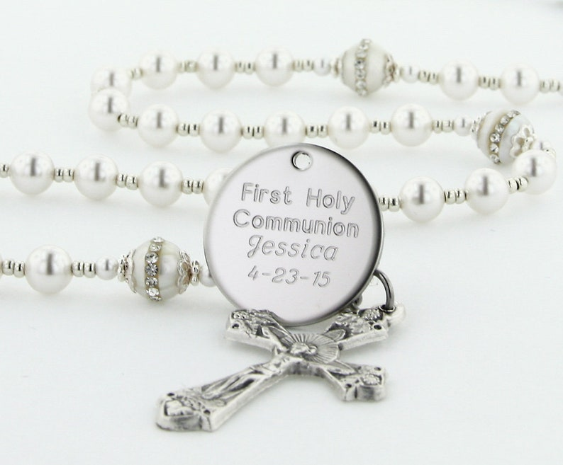 0509e2415aac First Communion Rosary, Personalized Rosary, Girl Communion Gift, Girl  Rosary, Communion Beads, Rosaries, White & Crystal Pearl, FancyWCPp