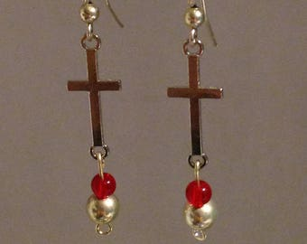 Cross Silver and Red