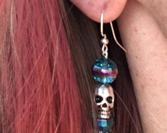 Silver Skulls-Beaded metallic blue