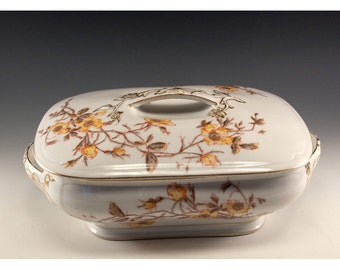 Vintage Limoges Serving Dish With a Lid 1884 Marguerite Design with Golden Yellow Flower Pattern