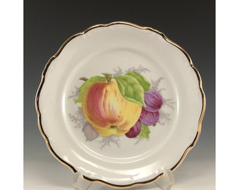 Vintage Collectible Plate Johann Haviland Bavaria Germany  Peaches and Plums with a gold rim