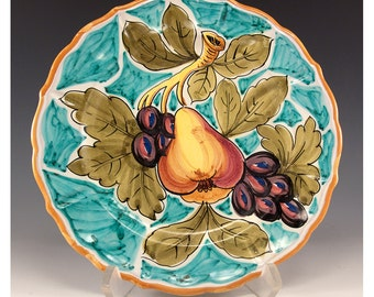 Vintage Collectible 8 inch Decorative Ceramic Plate - Pear and Grapes