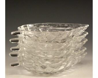 Vintage Set of Five Clear Glass Leaf Bowls