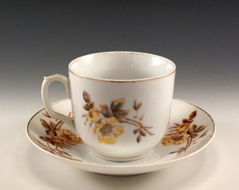 Five Vintage Tressemann and Vogt Five Cup and Saucer Collection Yellow Rose Design from Limoges France