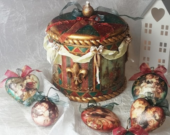 Christmas decorations unique SET of six BAUBLES & BOX *Vintage style Christmas tree decorations * Perfect Christmas gift