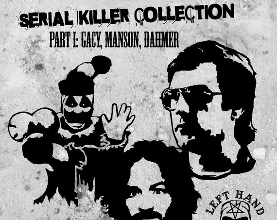 Serial Killer Collection Part 1: - Vinyl Decal / Sticker Pack ft. Charles Manson, John Wayne Gacy aka Pogo the Clown, and Jeffery Dahmer