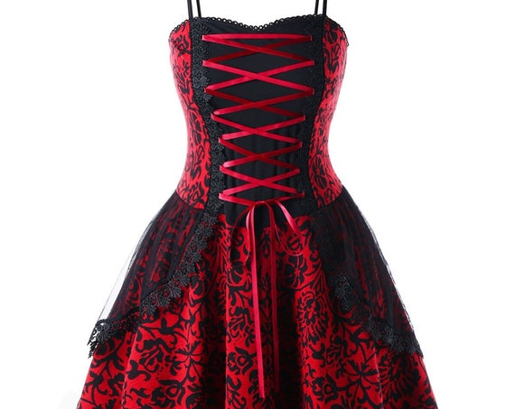 Gothic Red A-Line Dress